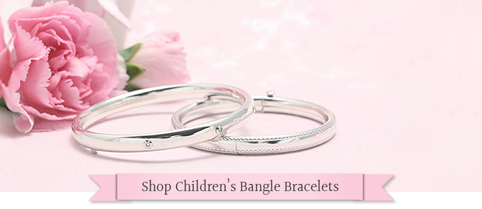 Bangle bracelets for babies, toddlers, and children in quality designs with safety hinges.