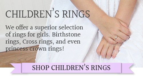 Here you can find a Cross ring, heart ring, or princess crown ring; we have a superior selection of kids rings.