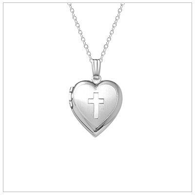 Sterling silver heart locket for children with engraved Cross. Perfect for First Communion jewelry.
