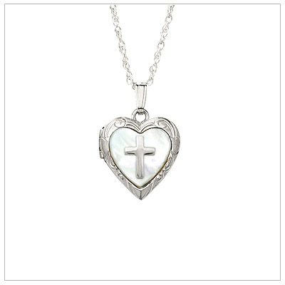 Girls heart locket with inlaid mother of pearl and sterling Cross. The heart locket holds two small photos and includes chain.