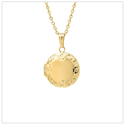 14kt gold filled round locket for children with an embossed floral pattern border. The locket can be engraved on the front and back; and it holds two small photos.