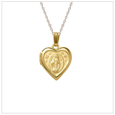 14kt gold filled Miraculous heart locket for girls. The locket holds two photos; the back has the miraculous and is not engraveable.
