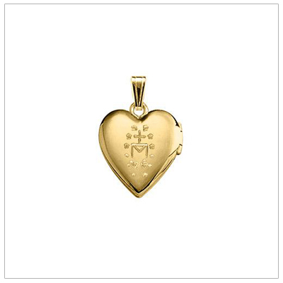The miraculous is engraved on the back of the heart locket.