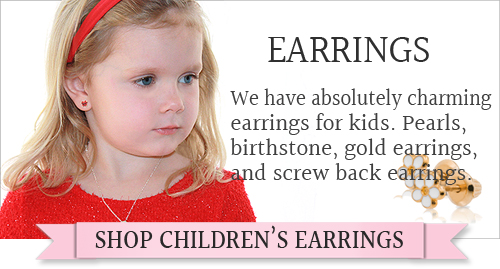 Kids earrings in sterling, 14kt gold, pearls, and more. A large selection of screw back earrings.