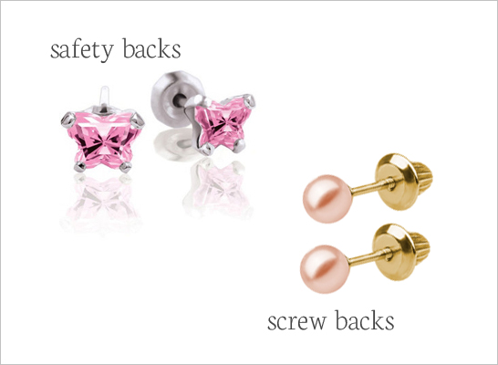 Replacement earring backs for screw back earrings and safety push-on earrings.