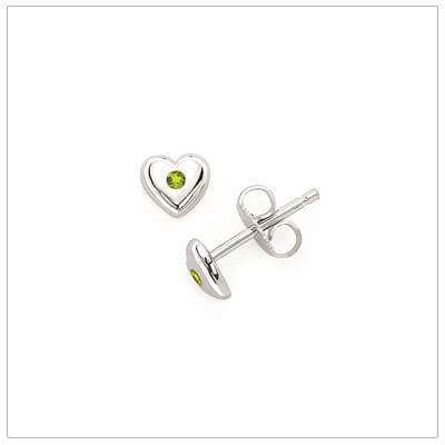 Sterling silver heart shaped birthstone earrings for girls. The heart earrings are set with simulated birthstones for August.