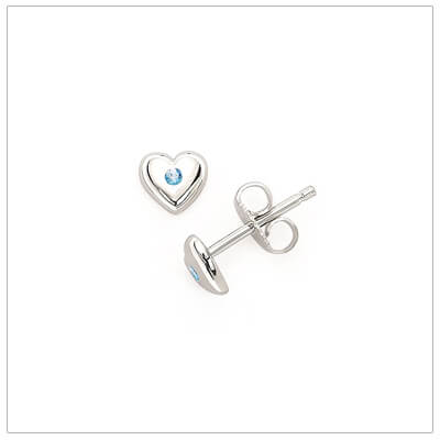Sterling silver heart shaped birthstone earrings for girls. The heart earrings are set with simulated birthstones for December.
