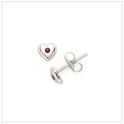 Sterling silver heart shaped birthstone earrings for girls. The heart earrings are set with simulated birthstones for January.