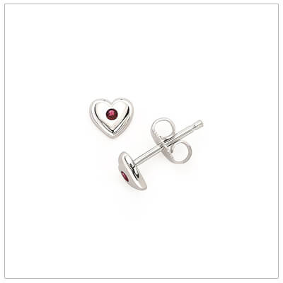 Sterling silver heart shaped birthstone earrings for girls. The heart earrings are set with simulated birthstones for July.