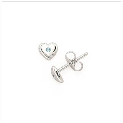 Sterling silver heart shaped birthstone earrings for girls. The heart earrings are set with simulated birthstones for March.