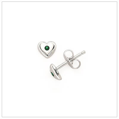 Sterling silver heart shaped birthstone earrings for girls. The heart earrings are set with simulated birthstones for May.
