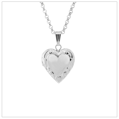 Sterling heart locket for girls with an embossed floral and heart pattern. Personalize the front and back with custom engraving.