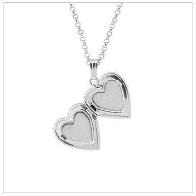 Sterling heart locket opens to hold two small photos.