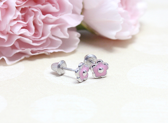 Pink flower screw back earrings in sterling silver.