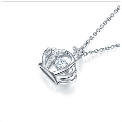 Sterling silver crown necklace for children with a moving, 'twinkling', center stone.