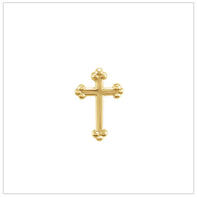 14kt yellow gold Cross lapel pin for boys; easy to use clutch. Beautifully made Baptism gift for boys.