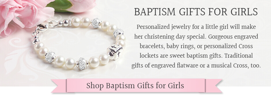 Baptism gifts for girls in personalized styles.