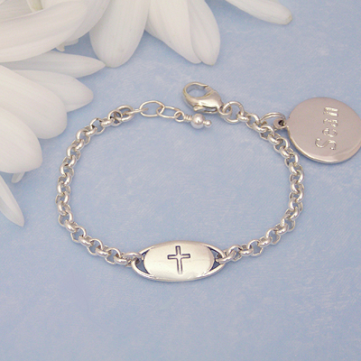 Boys Baptism Bracelet in sterling silver with engraved Cross medallion