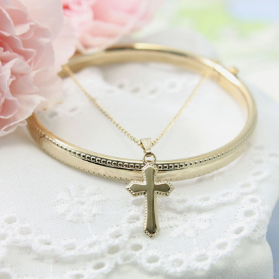 Baptism jewelry set in 14t gold filled includes a bangle bracelet and Cross necklace. Baptism gifts.