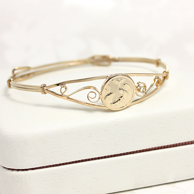 Gold Filled Guardian Angel Bangle Bracelet with adjustable sizing that fits toddlers and children