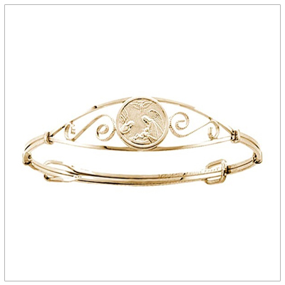 Beautiful Guardian Angel bangle bracelet in 14kt gold filled with adjustable sizing for toddlers and children.