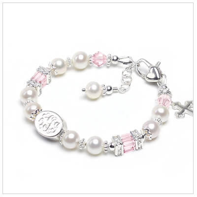 Cultured pearl and pink crystal Baptism or Christening bracelet for babies and children. Custom engraved bracelet that includes a charm.