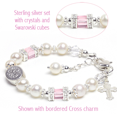 Baptism and Christening baby bracelet with custom engraving, sterling silver, pink crystals and charm included.