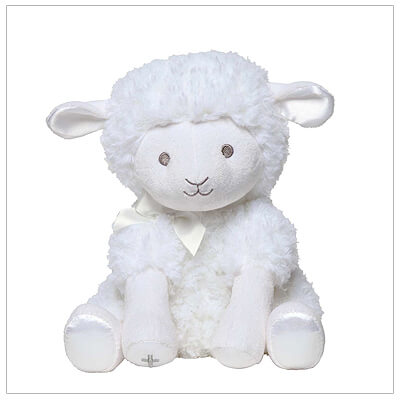 Soft plush lamb with embroidered silver Cross winds up to play 'Jesus Loves Me' while his head gently sways. Baptism gift for baby girls or baby boys.