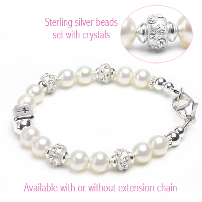 Christening and baptism baby bracelets in cultured pearls, sterling silver, and crystal-set sterling.
