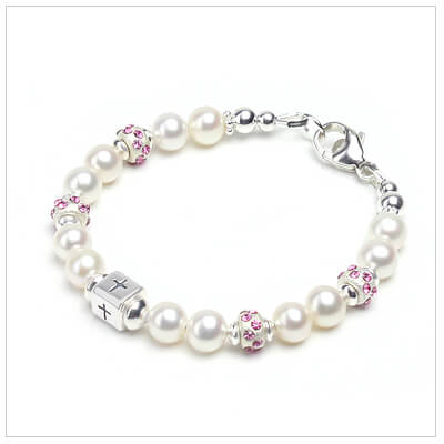 Baby and infant bracelet with cultured pearls, sterling Cross bead, and crystal-set sterling beads.