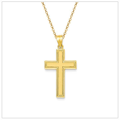Boys 14kt gold Cross necklace with a satin finish and small decorative border. Chain is included with the Cross necklace.