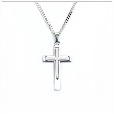 Handsome sterling silver Cross necklace for boys with a nail design and chain included. Engrave the back.