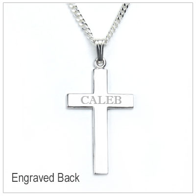Boys sterling silver Cross necklace with engraveable back.