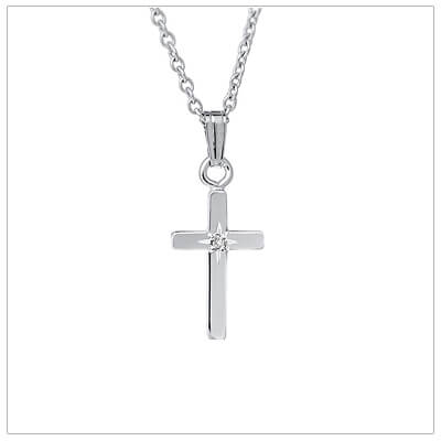 Small sterling Cross necklace with a genuine diamond. The Cross necklace is suitable for toddlers and includes a sterling chain.