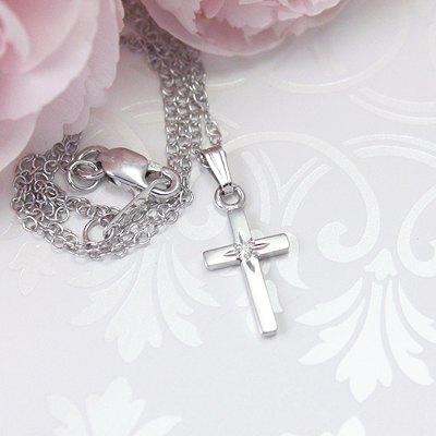 "Small sterling silver diamond Cross necklace, genuine diamond. 15"" chain included. Kids jewelry"