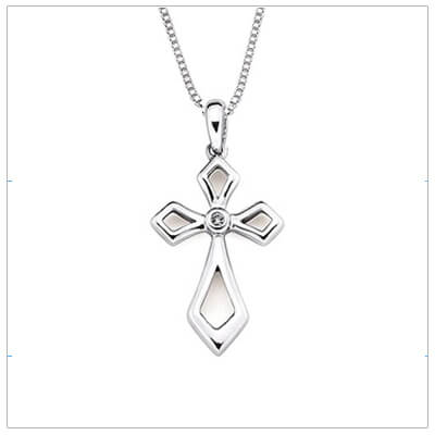 Sterling silver diamond Cross necklace for girls with an adjustable chain. Our Cross necklace is set with a genuine diamond.