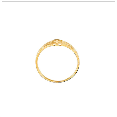 Children's gold Cross ring, standing view.
