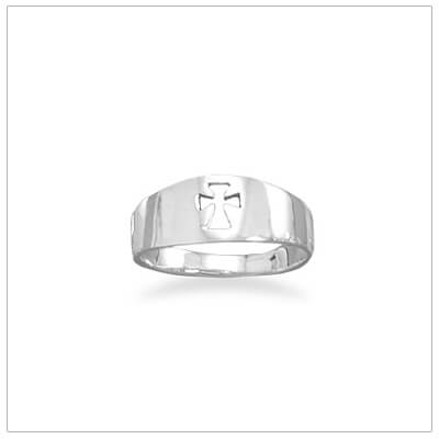 Sterling silver childrens ring with a cut out Cross design. Our childrens ring available in 3 sizes.