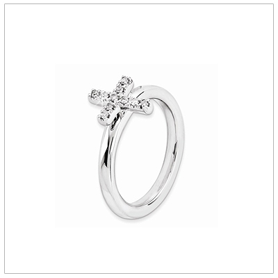 Girls Diamond Cross Ring In Sterling Silver