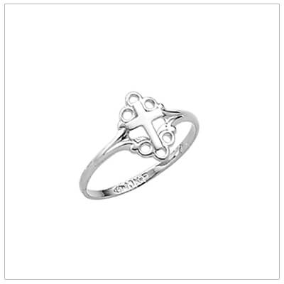 Dainty silver Cross ring for girls with a scrolled design. Beautiful Christian Cross ring.