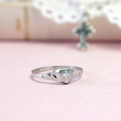 Silver baby heart ring with engraved Cross; baptism jewelry for girls.