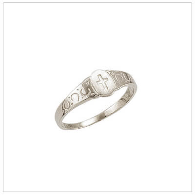 Sterling silver Cross ring for children in a signet style with a patterned band. Great childrens gift for girls or boys.