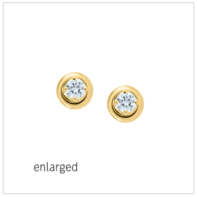 Diamond earrings for babies and children set in 14kt yellow gold. The earrings have .14ctw diamond weight and screw backs.