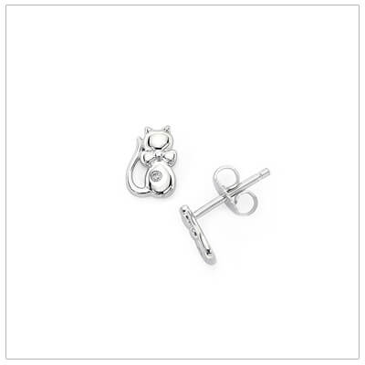 Sterling silver cat earrings set with melee diamonds. Our cat earrings have push on backs.