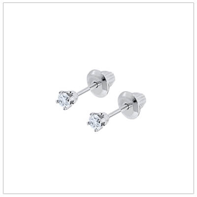 Baby diamond solitaire earrings in 14kt white gold with screw backs. Baby diamond earrings have .10 ctw.