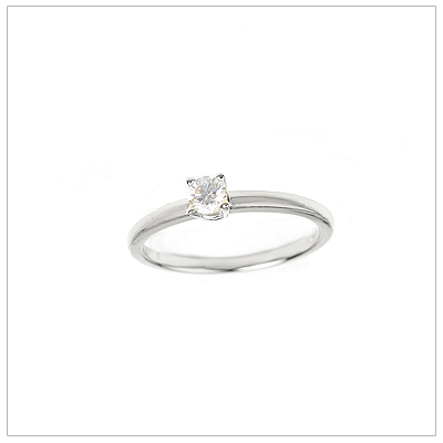 14kt white gold diamond solitaire ring for girls in a size 3.
