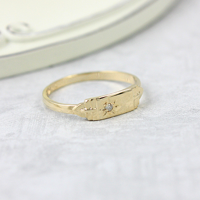 14kt gold diamond signet ring for boys with a rectangular shape. Engraving is included on our boys signet ring.
