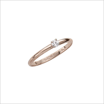 10kt gold diamond solitaire ring for children.