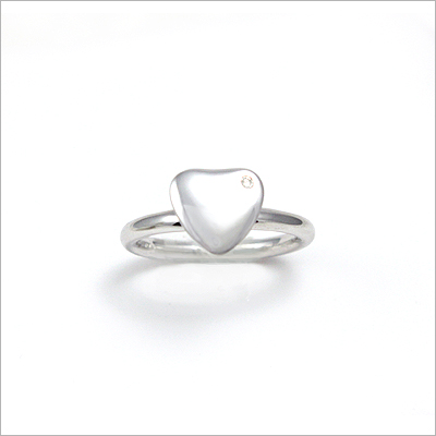 Diamond heart ring for girls in sterling silver. Heart ring is available in 3 sizes and can be engraved with one initial.
