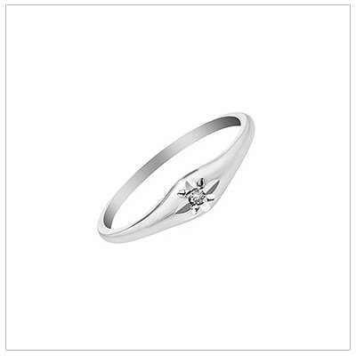 Sterling silver diamond ring for children with genuine diamond. The childrens ring has a domed design set with a diamond.